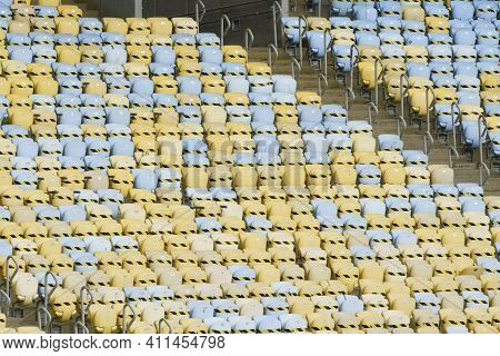Rio, Brazil - March 07, 2021: Empty Chair At The Stadium Because Of The Pandemic In Match Between Fl