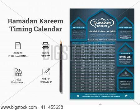 Ramadan Kareem Timeing Calendar,a3 Islamic Ramadan Calendar, Ramadan Prayer Timeing Calendar,ramadan