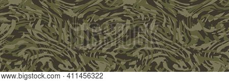 Khaki Green Camouflage Seamless Pattern. Camo Background, Curved Wavy Stripped.  Military Print For