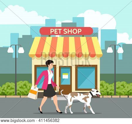 Pet Shop Building. Petshop Front Exterior With Canopy, Small Pets Store Street Sale Construction, Sh