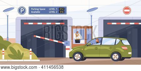 Car At Parking Entrance With Barrier. Scene With Guard In Booth Opening Gate And Letting Driver To D