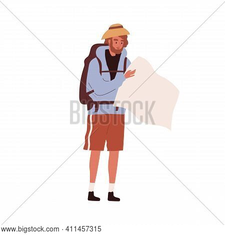 Tourist Traveling With Backpack. Hiker Looking For Route In Map Isolated On White Background. Colore
