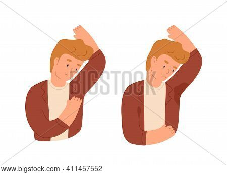 Man With Smelly And Sweaty Armpits And Sweat Odor. Person With Hyperhidrosis. Good And Bad Smell Fro
