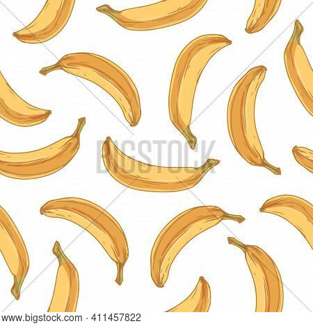 Tropical Seamless Pattern With Whole Banana Fruits On White Background. Endless Fruity Hawaiian Desi