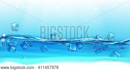 Ice Cubes In Water With Splashes And Drops. Dynamic Motion Of Transparent Aqua With Droplets And Air