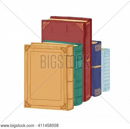 Row Of Ancient Historical Books In Hardcovers Isolated On White Background. Pile Of Different Old Te