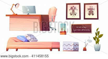 Psychologist, Psychotherapist Office Stuff And Furniture Set Isolated On White Background, Table Wit