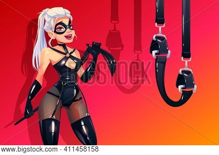 Dominatrix Woman In Bdsm Latex Costume With Fetish Accessories Whip And Bounding Belts. Dominant Blo