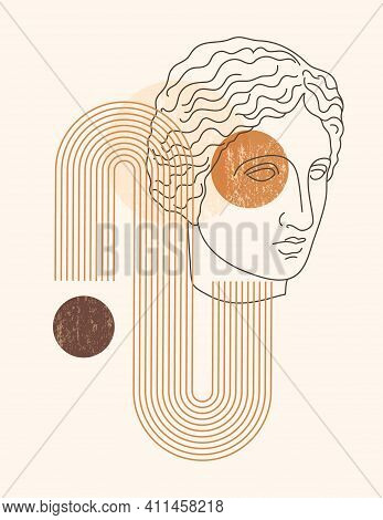 Abstract Boho Illustration With Antique Sculpture Of Muse In A Minimal Liner Style. Vector Contempor