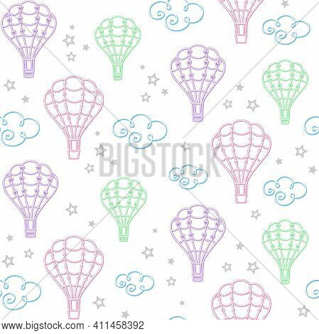 Flying In The Sky. Openwork Colorful Hot Air Balloons, Clouds And Stars On A White Background. Vecto