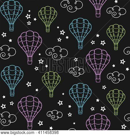 Colorful Hot Air Balloons On A Black Background With Clouds And Stars. Aerostat In The Sky. Vector S