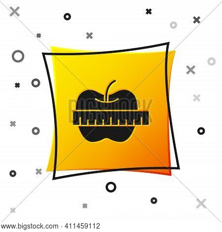Black Apple And Measuring Tape Icon Isolated On White Background. Excess Weight. Healthy Diet Menu.