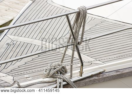 Yachting. Nautical Thick Rope On Sailboat. Part Of Sailboat