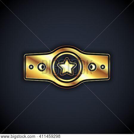 Gold Boxing Belt Icon Isolated On Black Background. Belt Boxing Sport Championship Winner Fight Awar