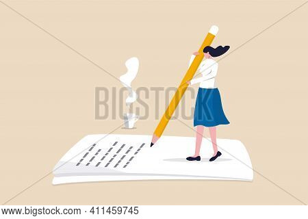 Content Writer, Blogger, Bullet Journalist Or Publishing Editor Concept, Young Smart Woman Freelance