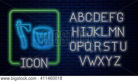 Glowing Neon Wooden Axe In Stump Icon Isolated On Brick Wall Background. Lumberjack Axe. Axe Stuck I