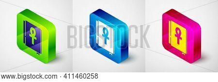Isometric Cross Ankh Book Icon Isolated On Grey Background. Square Button. Vector