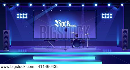 Stage With Rock Music Instruments, Equipment And Illumination, Empty Scene Interior With Drums, Synt
