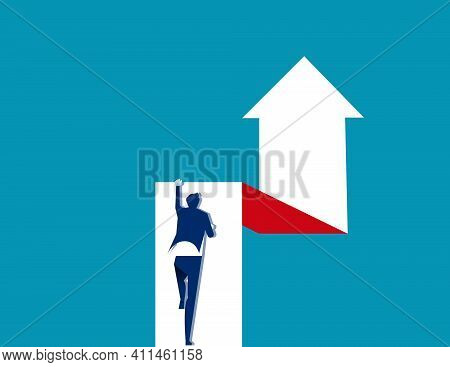 A Man Is Effort Moving Up On The Arrow