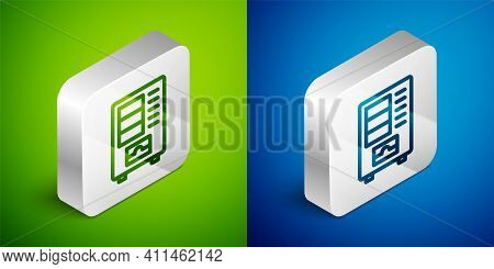 Isometric Line Vending Machine Of Food And Beverage Automatic Selling Icon Isolated On Green And Blu