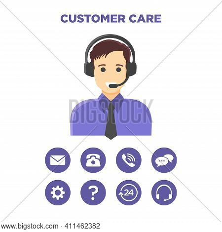 Flat Vector Illustration Of An Avatar Of A Customer Service Officer. Suitable For Design Element Fro