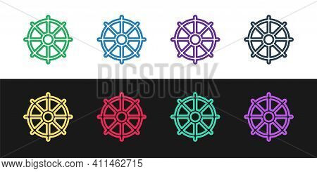 Set Line Dharma Wheel Icon Isolated On Black And White Background. Buddhism Religion Sign. Dharmacha