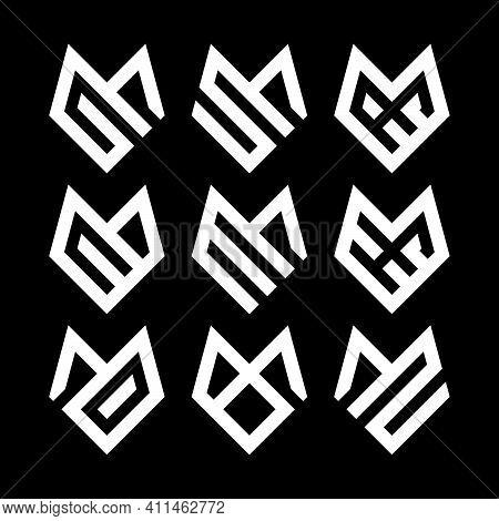 Initial Letter Gm, Mg, Sm, Ms, Se, C, Em,  Me, He, Md, Mo, Bm, Mb, Mz Logo Template Set With Geometr