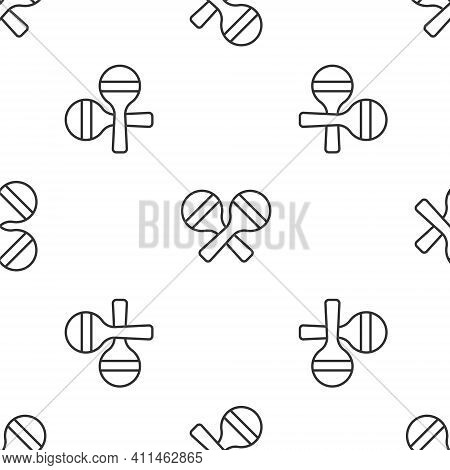 Grey Line Maracas Icon Isolated Seamless Pattern On White Background. Music Maracas Instrument Mexic