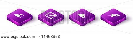 Set Isometric Cloud With Moon And Stars, Open In New Window, Mail Server And Rocket Ship Fire Icon.