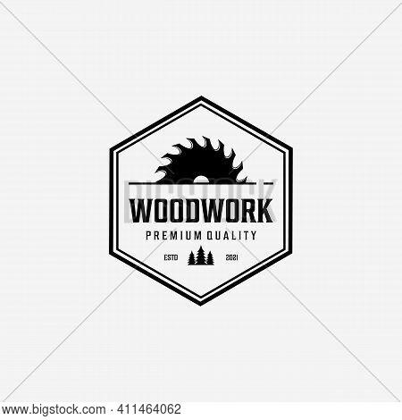 Badge Of Carpenter Shop Logo Vector Vintage, Emblem Of Illustration Of Woodwork Concept, Design Of W