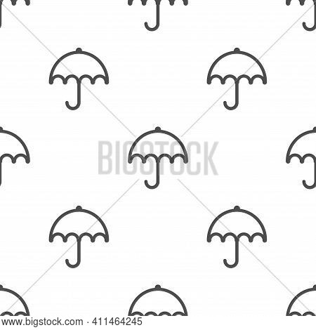Seamless Background With Black Line Umbrellas On White. Overcast Pattern. Vector Illustration. Carto