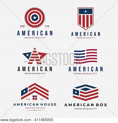 Set Of American Flag Logo Vintage, Bundle Of Design Usa Or United States Vector Illustration, Usa Lo