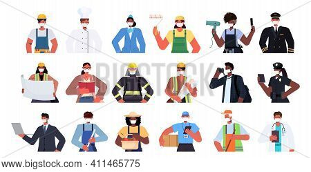 Set Mix Race People Of Different Occupations Wearing Masks To Prevent Coronavirus Pandemic Self Isol