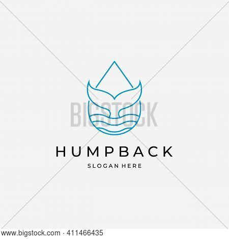 Minimalist Line Art Logo Whale Tail Vector, Design And Illustration Of Humpback Blue Whale
