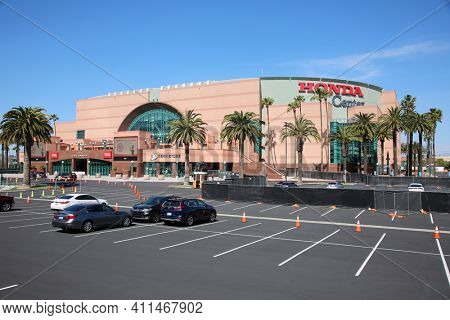 ANAHEIM, California -USA - March 6, 2021: Honda Center exterior view. The Honda Center is an indoor arena and home of the Anaheim Mighty Ducks of the National Hockey League.