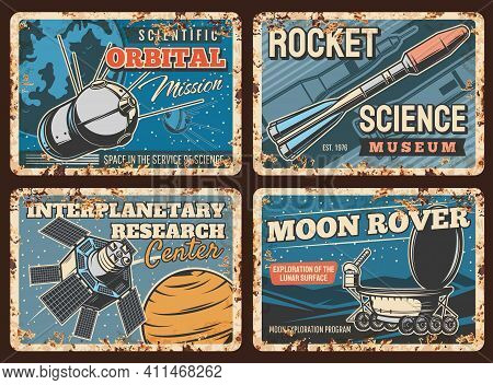 Space Rockets, Planets Exploration Metal Rusty Plates, Vector Orbital Station. Space Science And Spa