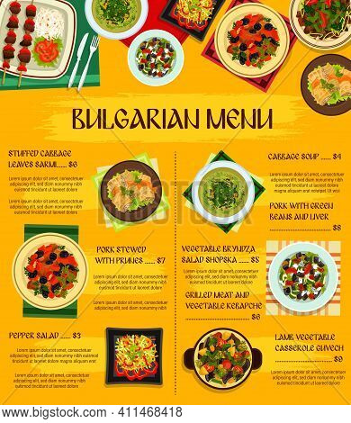 Bulgarian Cuisine Vector Menu Template Stuffed Cabbage Leaves Sarmi, Pepper Salad, Grilled Meat And