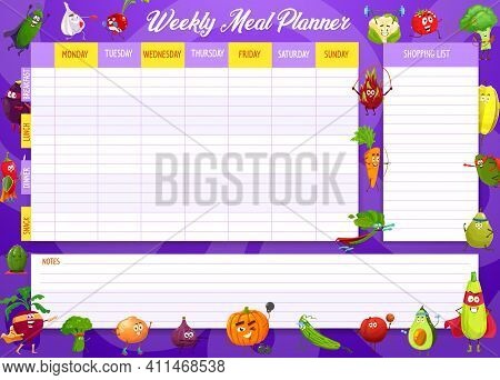 School Timetable Vector Template With Cartoon Vegetables Sportsmen And Superheroes. Education Kids T