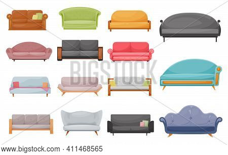 Modern Sofa, Classic Or Retro Couch Cartoon Vector Set. Comfortable Two-seater Lawson Sofa, Loveseat