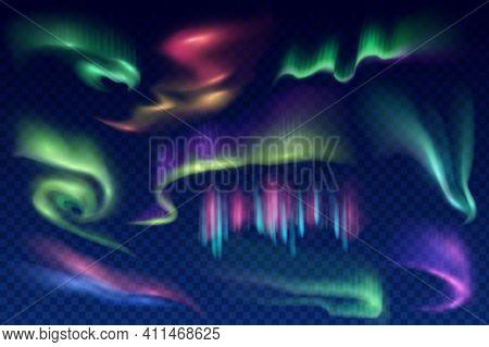 Arctic Aurora Borealis, Vector Polar Lights, Northern Natural Phenomena. Amazing Iridescent Glowing