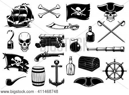 Pirate Icons Of Skull, Chest Treasure Map And Ship, Vector. Caribbean Island Pirate Sword, Hook Hand