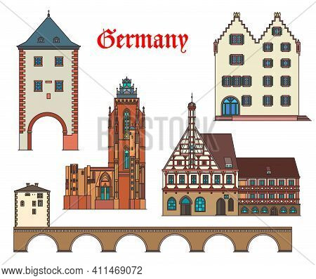 Germany Landmarks Architecture And German City Houses Buildings, Vector. Germany Landmarks Of Forchh