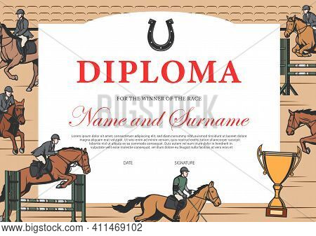 Horse Race Winner Diploma, Certificate Vector Template. Stallion Racing Award Border Design With Hor