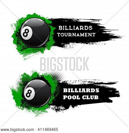 Billiards Tournament Banners, Pool And Snooker Club Championship, Vector. Billiards Sport And Poolro