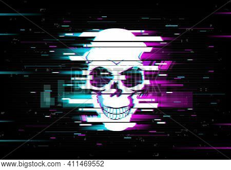 Glitch Skull Vector Distorted Neon Glowing Pixelized Cranium Or Jolly Roger On Black Background. Tel