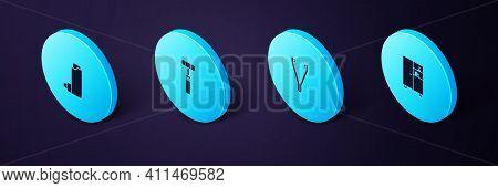 Set Isometric Medicine Cabinet, Medical Tweezers, Neurology Reflex Hammer And Inhaler Icon. Vector