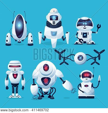 Cartoon Robots, Vector Cyborg Characters, Toys, Pets Or Bots, Artificial Intelligence Technology. Fr