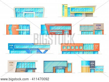 Gym Or Fitness Center Buildings, Vector Contemporary City Architecture Constructions For Sports Acti