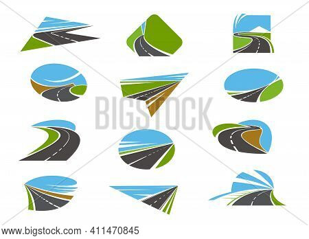 Road Icons, Highway And Pathway Routes With Traffic Ways, Vector. Road Construction, Repair And Main