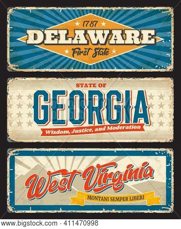 Delaware, Georgia And West Virginia States Old Metal Plates. United States Of America Regions Shabby